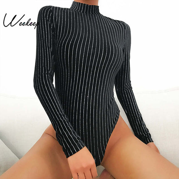 Weekeep Black Stripped O-neck Long Sleeve Bodysuit Women 2018 Spring Autumn Bodycon Bodysuits High Street Romper Women