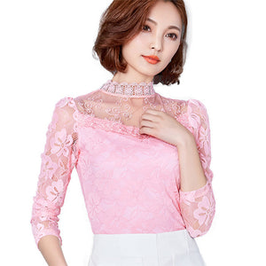 Sexy Slim Shirt Tops Lace Long Sleeve O-Neck Leisure Black/White S-5XL