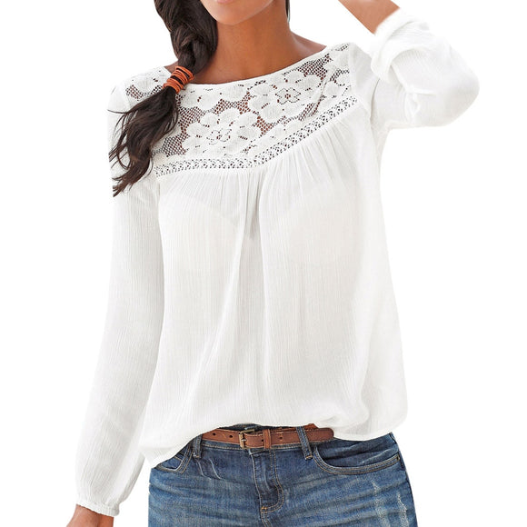 Long sleeve Lace Patchwork Tops Women Blouse Shirt