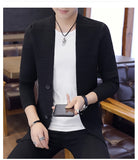 Slim Fit Cardigan Black Gray Sweater