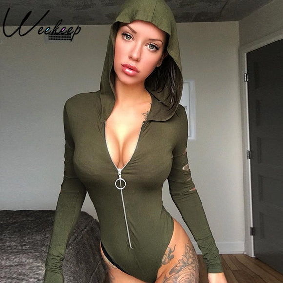 Sexy Hooded Hole Hollow Out Bodysuit
