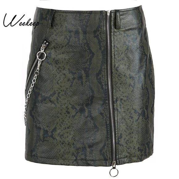 Punk Style Snake Skin Print A-line Skirts