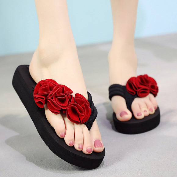 YOUYEDIAN Women Slippers Summer Flower Clip Toe Flip Flops Woman Casual Shoes 2019 Wedges Female Beach Slippers
