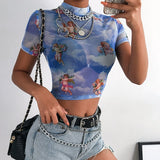 Transparent Bodycon Angel Print Short Sleeve tshirt