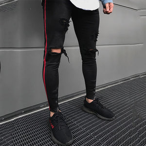 Destroyed Punk Slim Fit Men Zip Fly Biker Ripped Denim Jeans