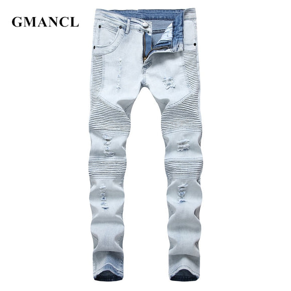 Distressed Slim Elastic Denim Biker Jeans