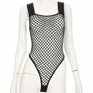 Sexy Hollow Out  Backless Patchwork Mesh Bodysuit