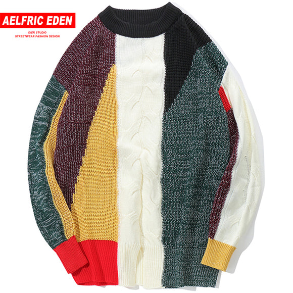 Vintage Color Block Pullover Sweaters