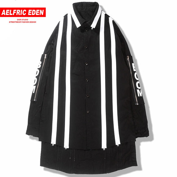 Zipper Stripe Long Jackets Coats