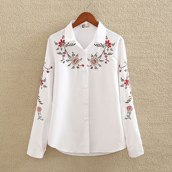Embroidery White Cotton Shirt plus size