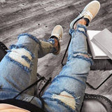 Motorcycl Denim  Hole Biker Jeans