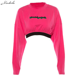 O-Neck Long Sleeve Loose Knit Cropped Sweatshirt