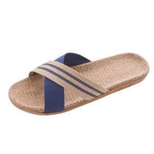 Women Linen Slippers Unisex Flip Flops Couple Fashion Anti-slip Linen Home Indoor Open Toe Flat Shoes Men Beach Slippers