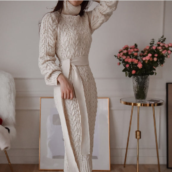 Lace Waist Twist High Collar Knit Bottoming Sweater Dress