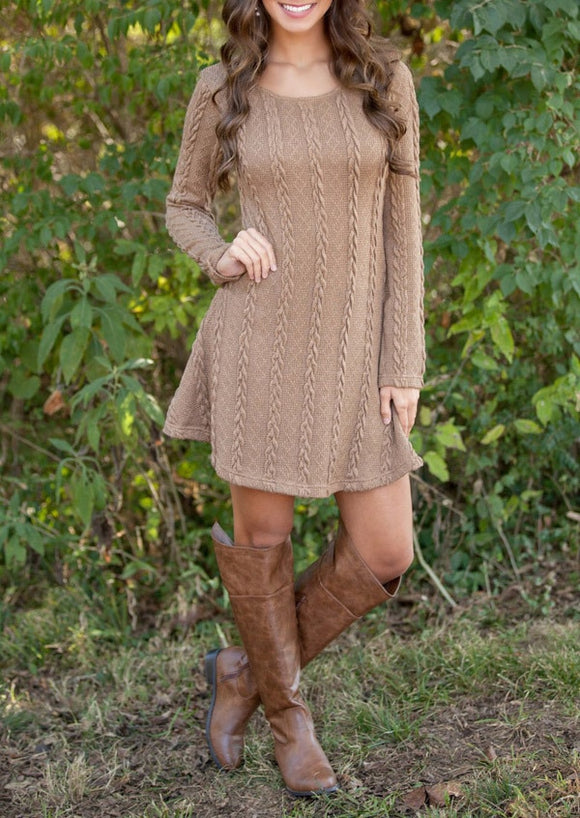 Long Sleeve Mini A-Line Knitted Sweaters Dresses
