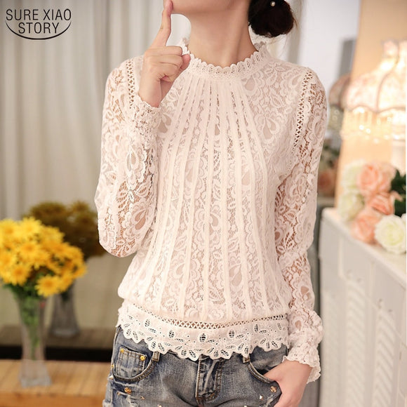 Long Sleeve Chiffon Lace Crochet Tops Blouses