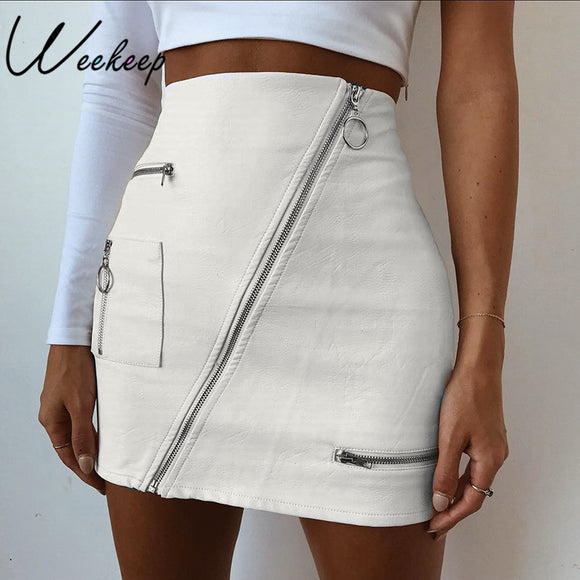Elegant Zipper Pocket Mini Skirt