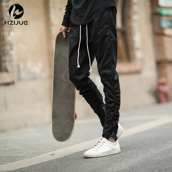 Rubber elastic feet zipper casual pants