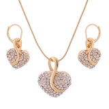 Free shipping Fashion Jewelry Luxury Gold-color Romantic Austrian Crystal heart shape Chain Necklace Earrings Jewelry Sets