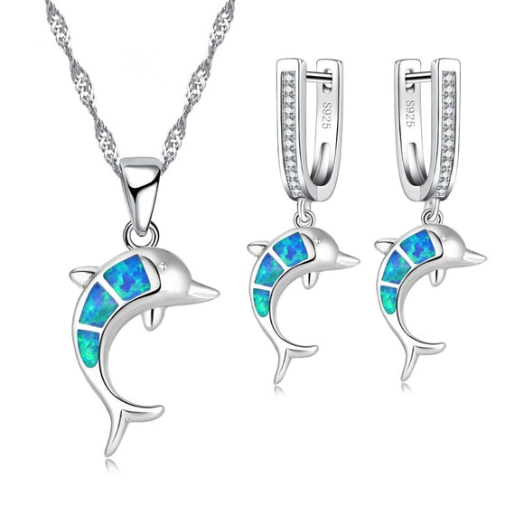 FDLK     Beautiful Cute Blue imitation Opal Dolphin Jewelry Sets For Party Accessory Women Necklace And Earring Set Jewelry Gift