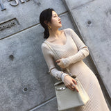 Thick Elastic Stretch Long Sleeve Casual V-neck Knitting dress