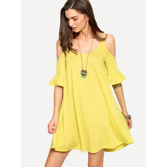 Open Shoulder Ruffle Cuff Swing Dress