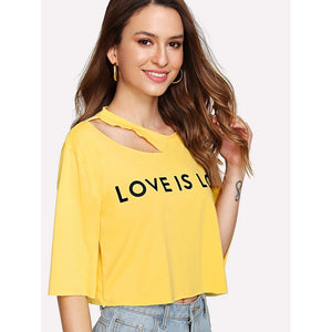 Letter Print Asymmetric Cutout Neck T-shirt