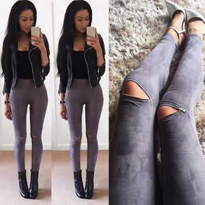 Faux Leather Skinny Pants Sexy Zipped Legging Stretch Slim Trousers