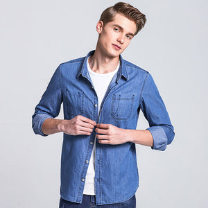 Spring denim shirt men brand-clothing