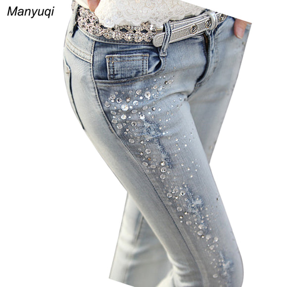 jeans pencil leg   light blue rhinestones jeans women
