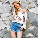Simplee Floral print off shoulder chiffon blouse Women tops halter cool long sleeve
