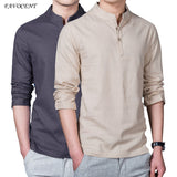New Spring Summer Casual Men Linen Shirt Long Sleeve Solid V Neck Collar