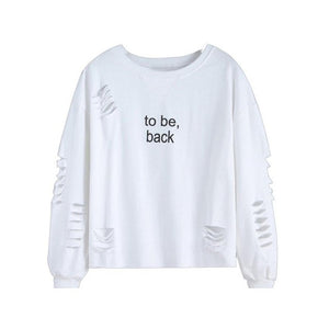 Fashion Women'to be back 'Letters Printed White Round Neck Cotton Full Sleeve Ladies Blouses