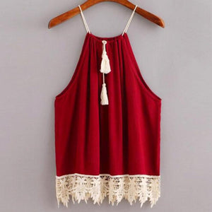 Lace Trimmed Tasselled Drawstring Blouse Wine Red Tops shirt Sleeveless