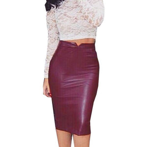 High Waist  Pencil Leather Skirt