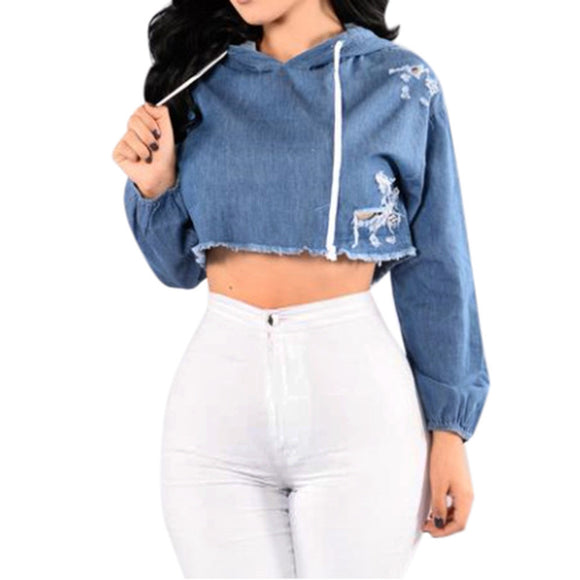 Blue Demin Blouse Women Long Sleeve Jean Hoodie Hole Hooded Pullover