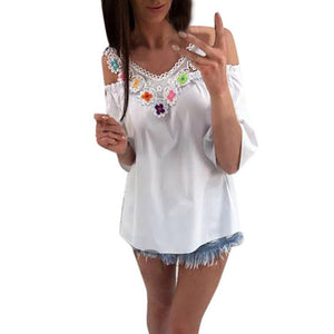 Women's Lace Tops Half Sleeve Shirt Casual V-Neck Applique Blouse shirt