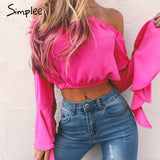 Sexy off shoulder flare sleeve blouse shirt Casual soft chiffon short blouse blusas