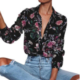 Unisex Women Long Sleeve Turn Down Neck Floral Printed Casual Multicolor Blouse
