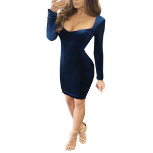Sexy New Velvet  Long Sleeves V-neck Sheath Dress