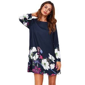 Flower Print Flowy Dress Navy Boat Neck Long Sleeve