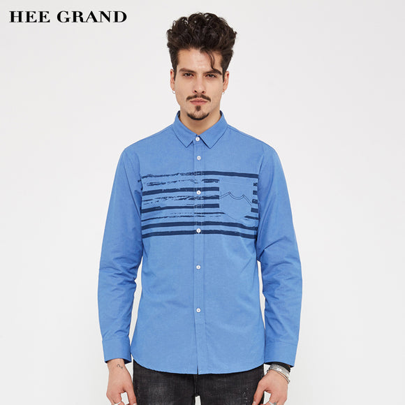 HEE GRAND Men's Shirts Casual&Business Long Sleeve Turn-down Collar