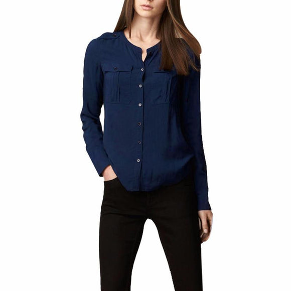 Women Female Blouse Shirt Solid Office Lady Button Stand Cardigan Autumn Winter Cool Long