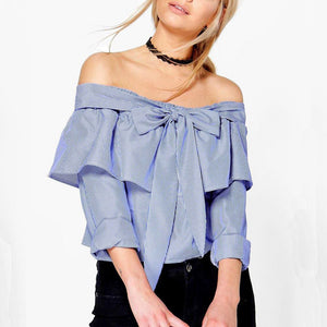 Blouse Women Sexy Stripe Shirt Off Shoulder Long Sleeve Bow Tie