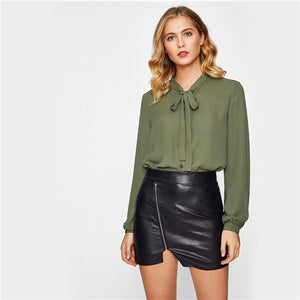 Sheinside Bow Tie Neck Button Up Plain Blouse  Autumn Army Green