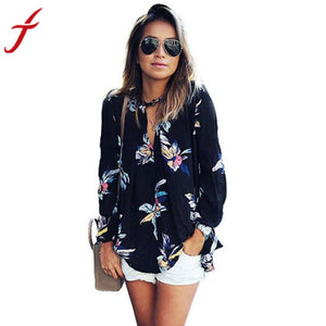Fashion Floral Printing Loose Long Sleeve Tops V-Neck Lady