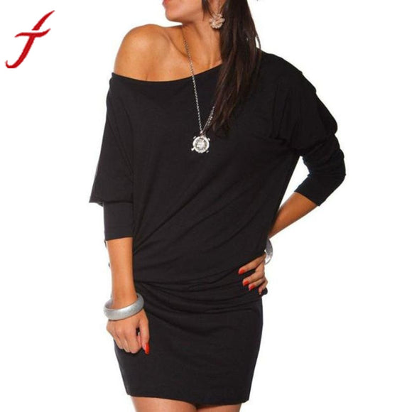 Womens Long Sleeve Batwing Tunic Mini Dresses