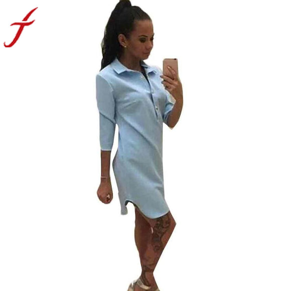 Fashion Office Women Button Three Quarter Sleeve Dress
