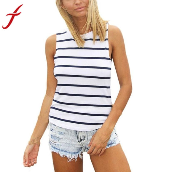Womens Sexy Striped Strap Blouse Shirts Overalls Casual Sleeveless
