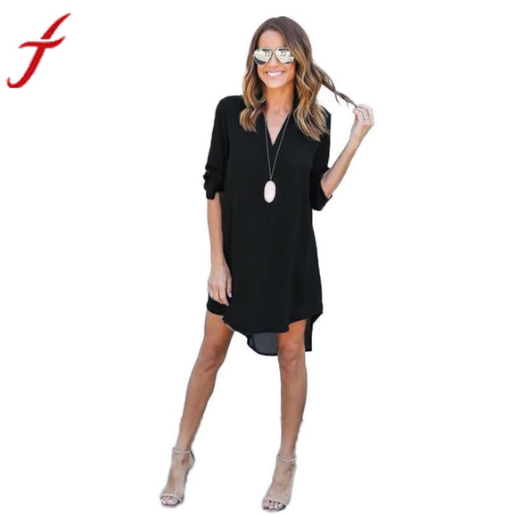 Dress Spring Summer Chiffon Long Sleeve Casual Split Tops Sexy Shirt Dresses Plus Size